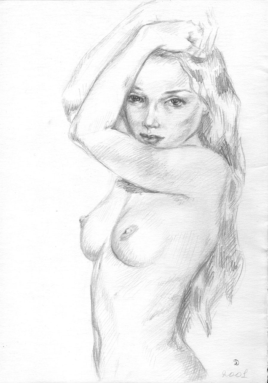 Рисованные девушки голые в карандаше 7 фотография